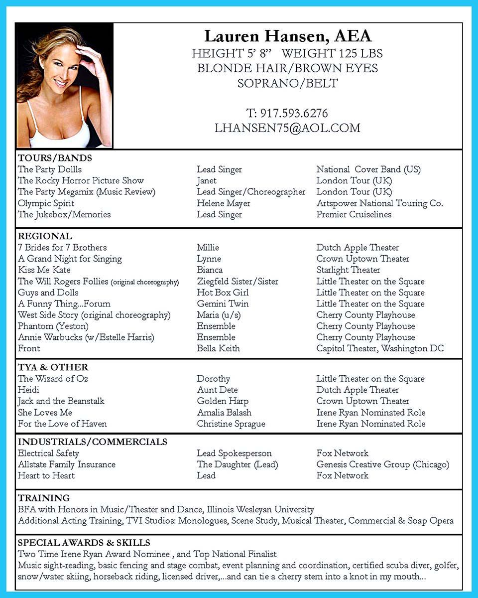 Dance Resume Examples | Cool The Best And Impressive Dance Resume Examples Collections