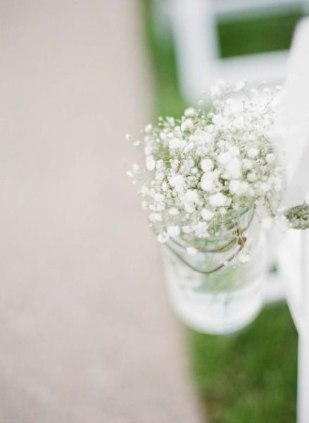 baby's breath ceremony aisle decor