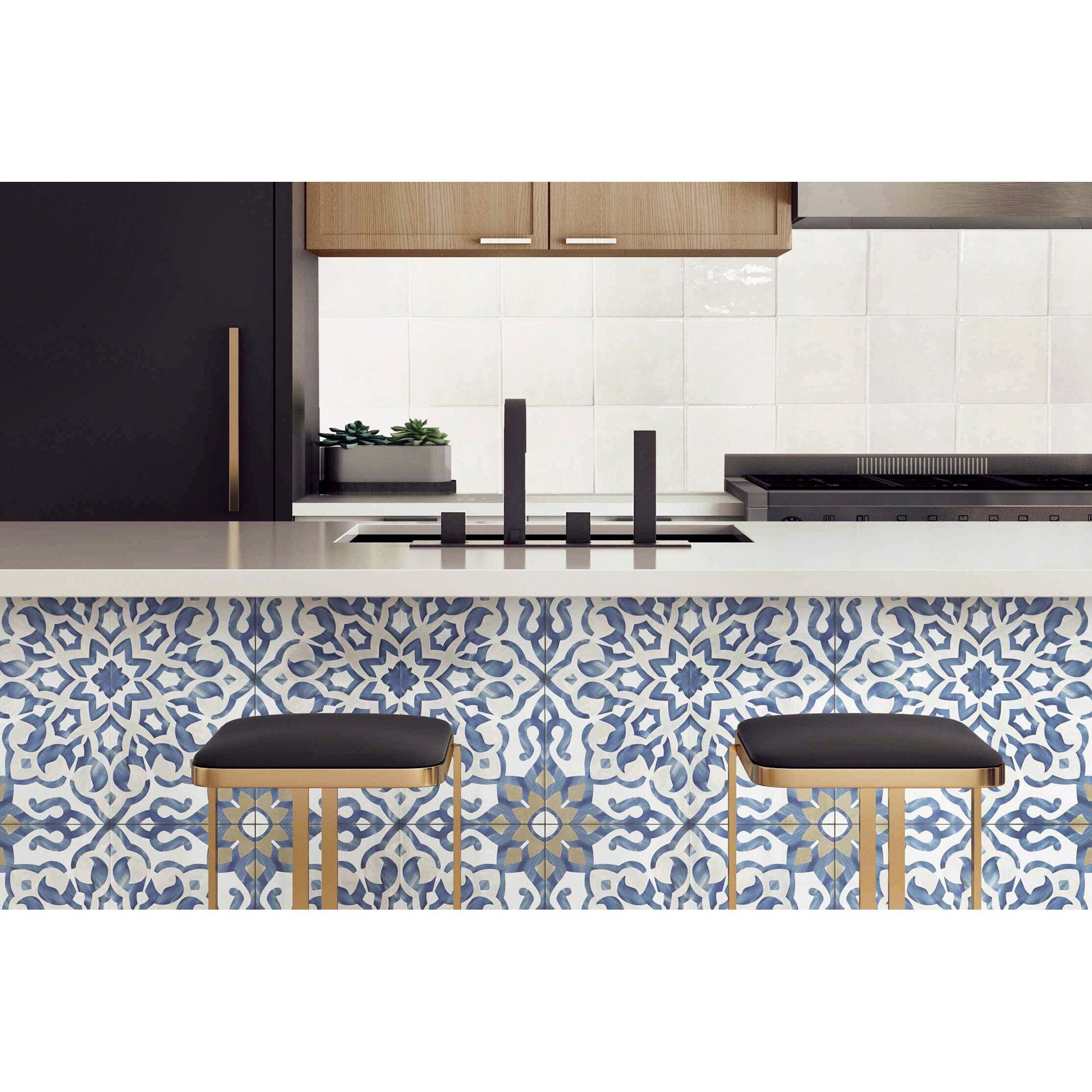 Villa Azul 10 X 10 Floral Decorative Porcelain Tile In Blue 13 45 Sqft Ctn Walmart Com In 2020 Kitchen Remodel Kitchen Flooring Kitchen Tiles