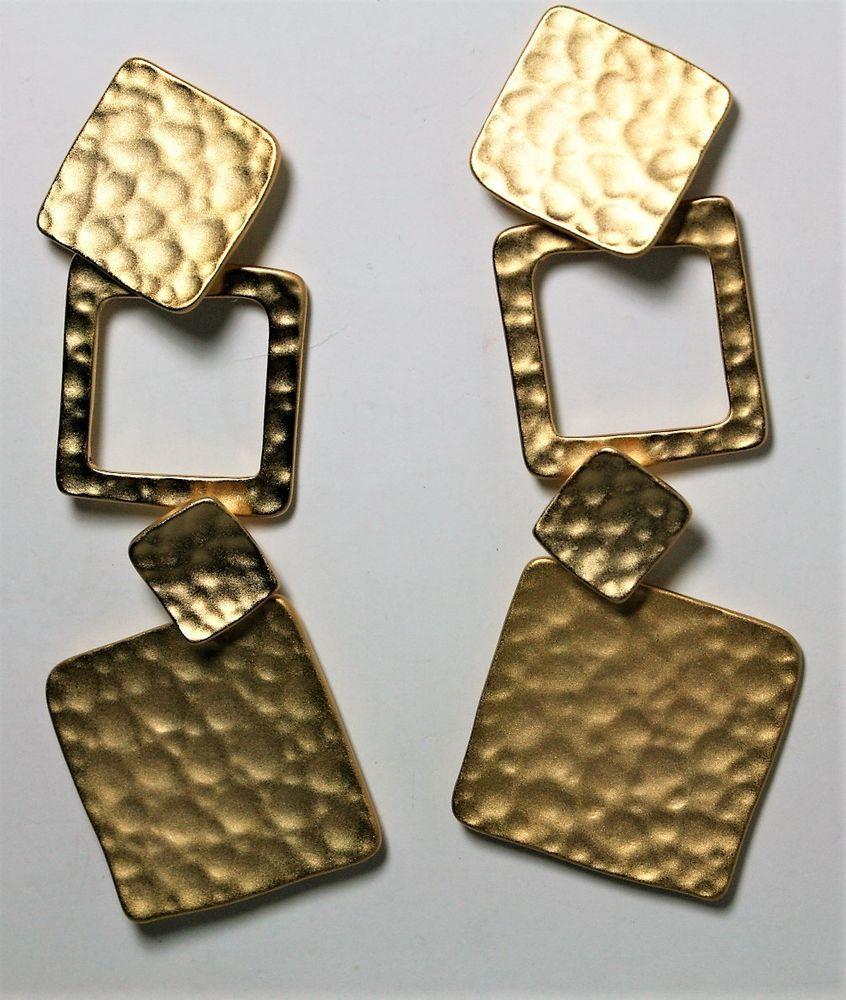 23a502e203 PEARL PERRI GEOMETRIC DROP EARRINGS HAMMERED TEXTURED GOLD TONE NEW  #PEARLPERRI #DropDangle