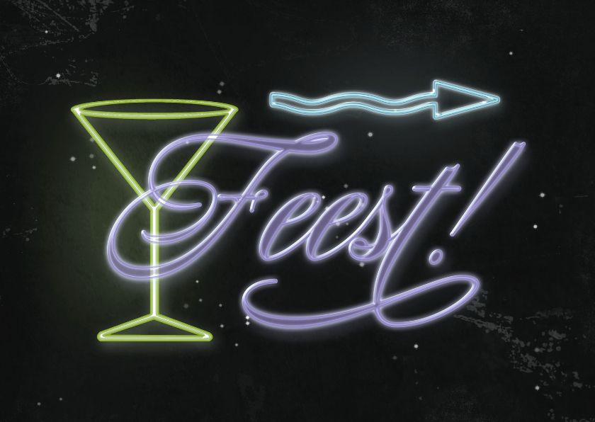 Een Neon Randje : Uitnodiging neon feest c axe invitation cards