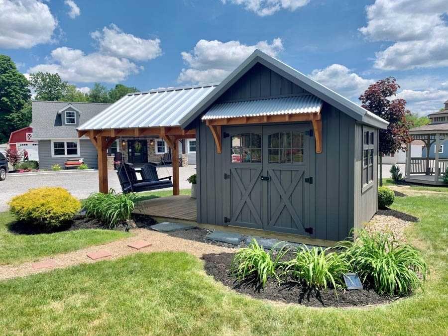Premium Gorgeous 10 X 18 Farmhouse Garden Shed Salem Structures Llc In 2020 Farmhouse Sheds Backyard Sheds Farmhouse Garden