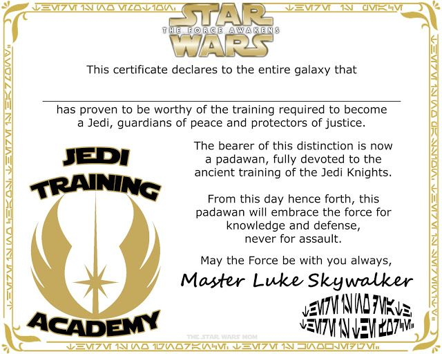Star Wars Jedi Training Academy Certificate Free Printable | Pinterest