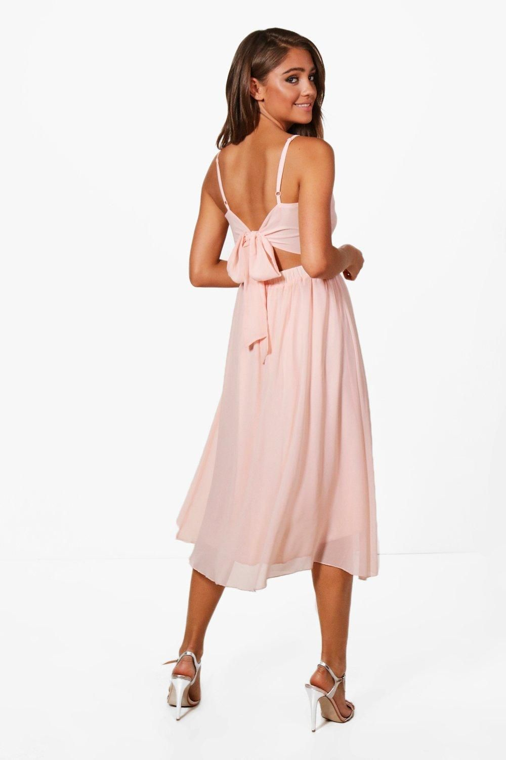 135f00eaee45 Click here to find out about the Cady Chiffon Tie Back Midi Skater Dress  from Boohoo, part of our latest Dresses collection ready to shop online  today!