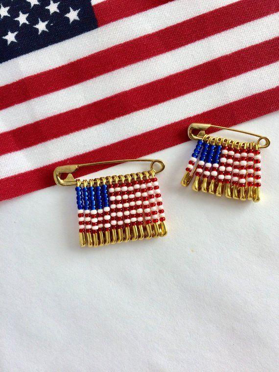 USA Flag Handmade Beaded Pin Brooch Safety Birthday Gift Veterans Day For He