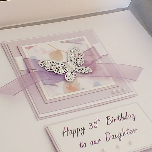 Luxury Handmade Birthday Card Large Lilac Butterflies For Mum