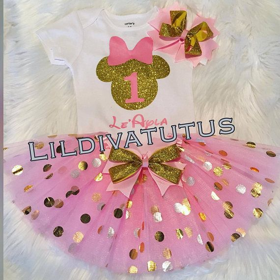 minnie tutu outfit Minnie Mouse first birthday outfit 1st 2nd 3rd 4th 5th birthday gold and pink sequin minnie ears elastic minnie ears