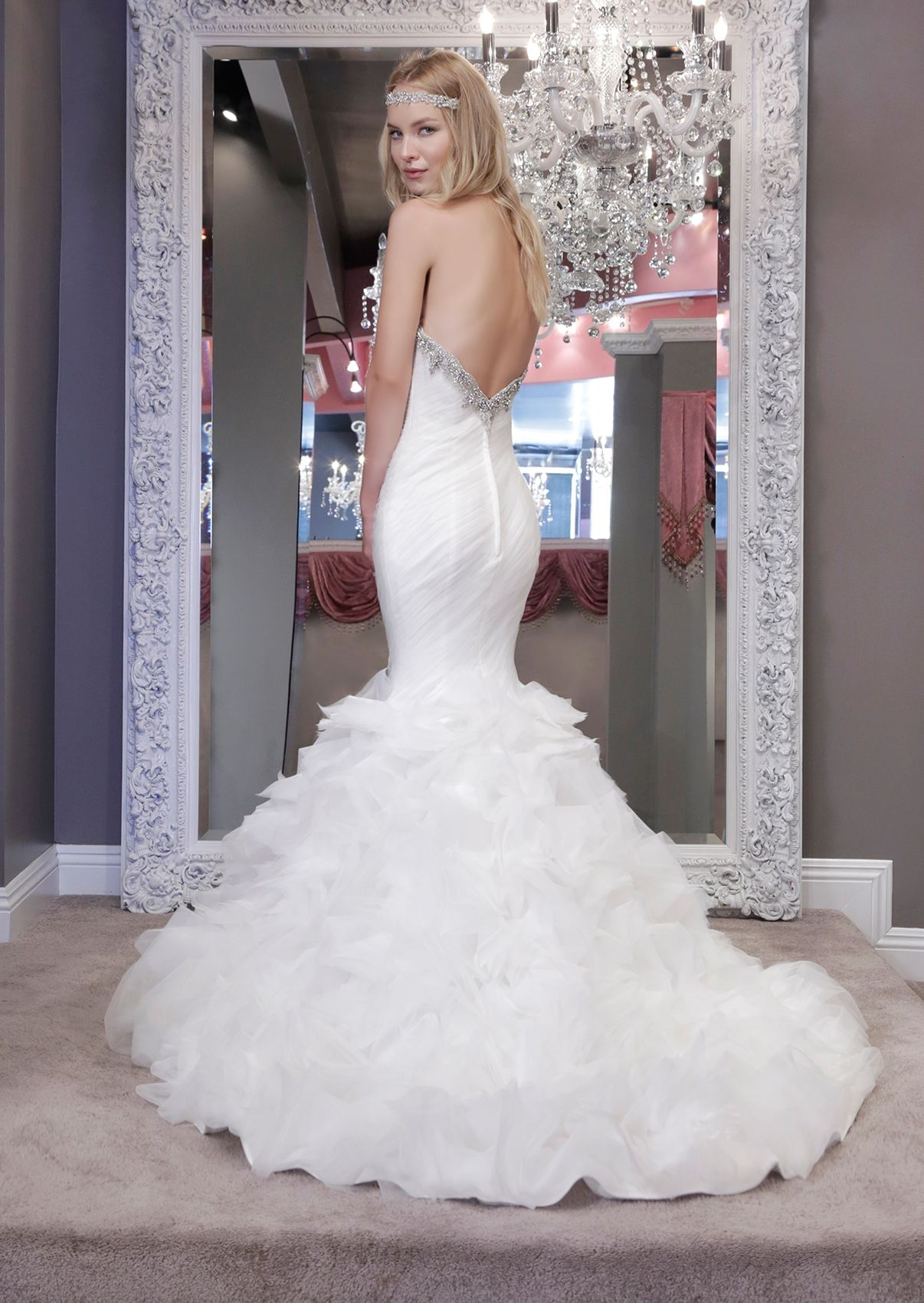 92d918a36c1210 Chic tulle ruched mermaid wedding dress with crystal embellishment at  sweetheart neckline and fully layered organza