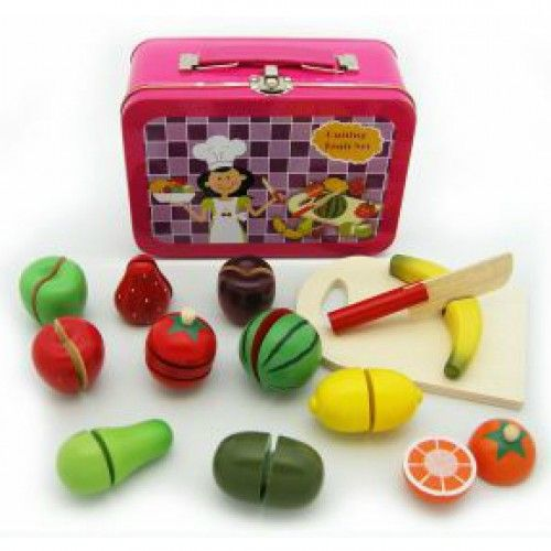 """Thirteen wooden fruit pieces provided in their very own carry case.  Each of the fruit pieces have velcro attached to enable them to be """"cut"""" and then put back together."""