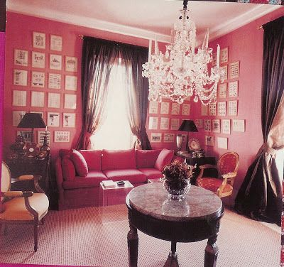 David Hicks pink room--not too sweet--dark curtains and black ...