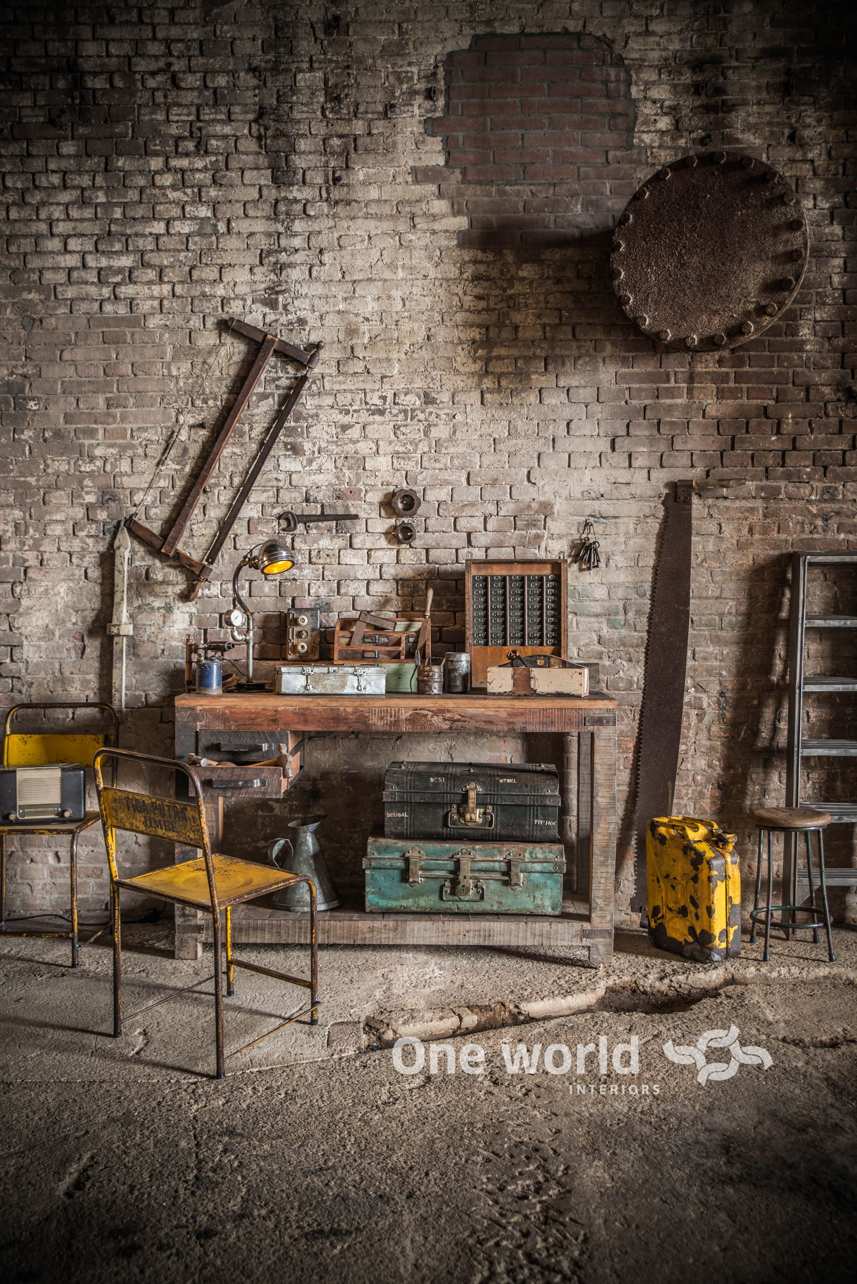 one world interiors factory work bench picture paulina arcklin recup pinterest. Black Bedroom Furniture Sets. Home Design Ideas