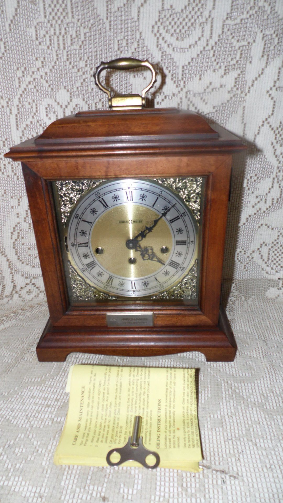 Vintage Howard Miller West Germany Wind Up Mantel Clock 340 020a 2