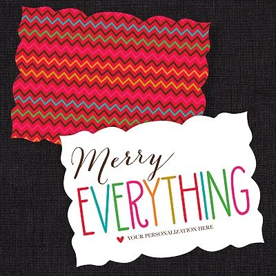 Merry Everything Colorful Die Cut Holiday - Personalize yours and SAVE 30% now! #HolidayCards