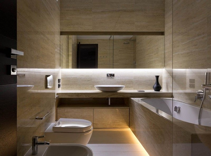 In The Bathroom Beautiful Stone Tiles Take Place Of Walnut Giving It