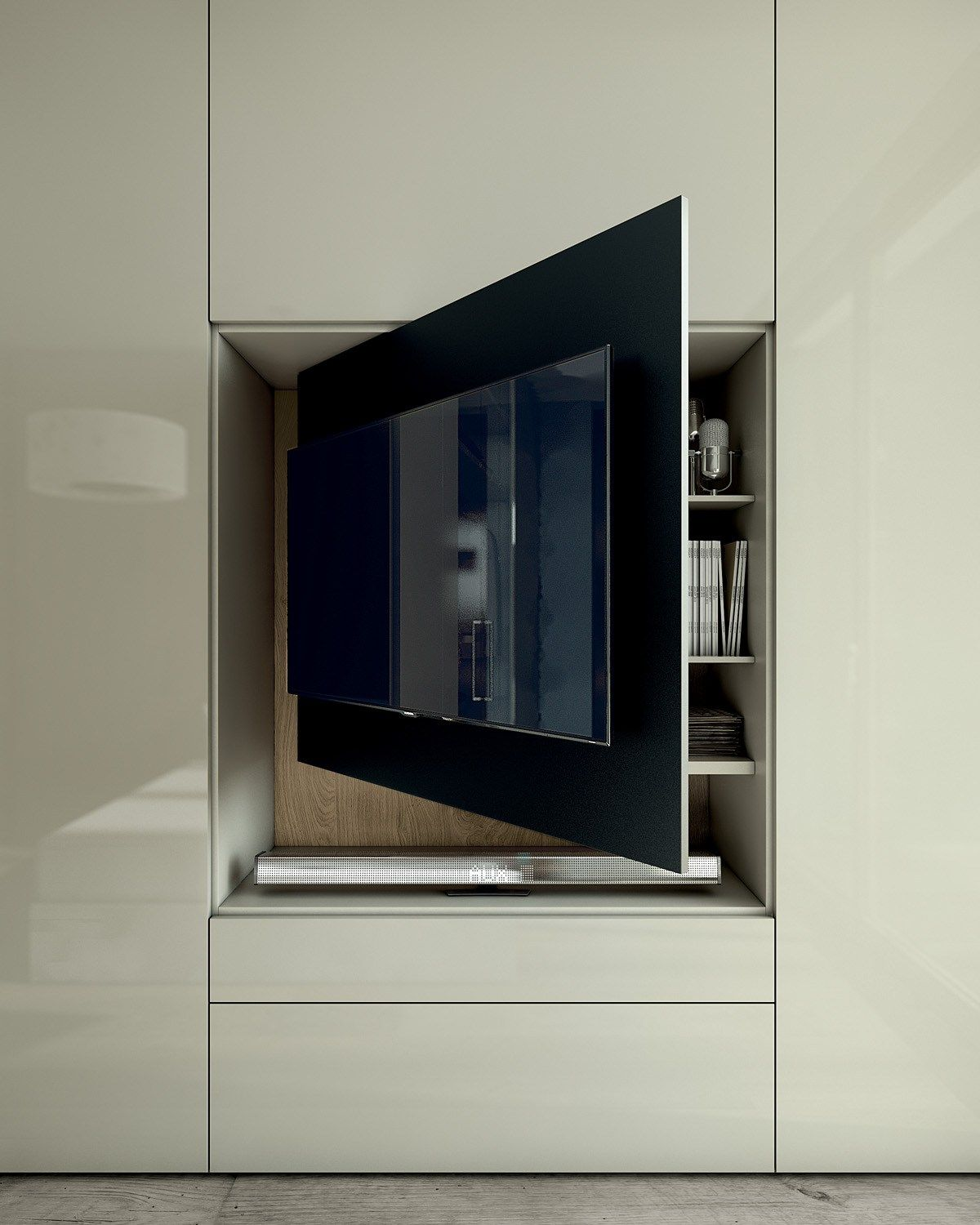 Sectional Lacquered Wood And Glass Wardrobe With Built In Tv Roomy  # Meuble Tv Plasma Design Divano