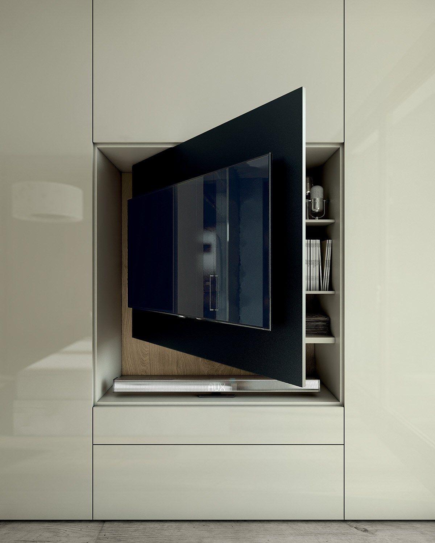 Roomy armadio con tv integrata by caccaro design sandi for Mobili contenitori design