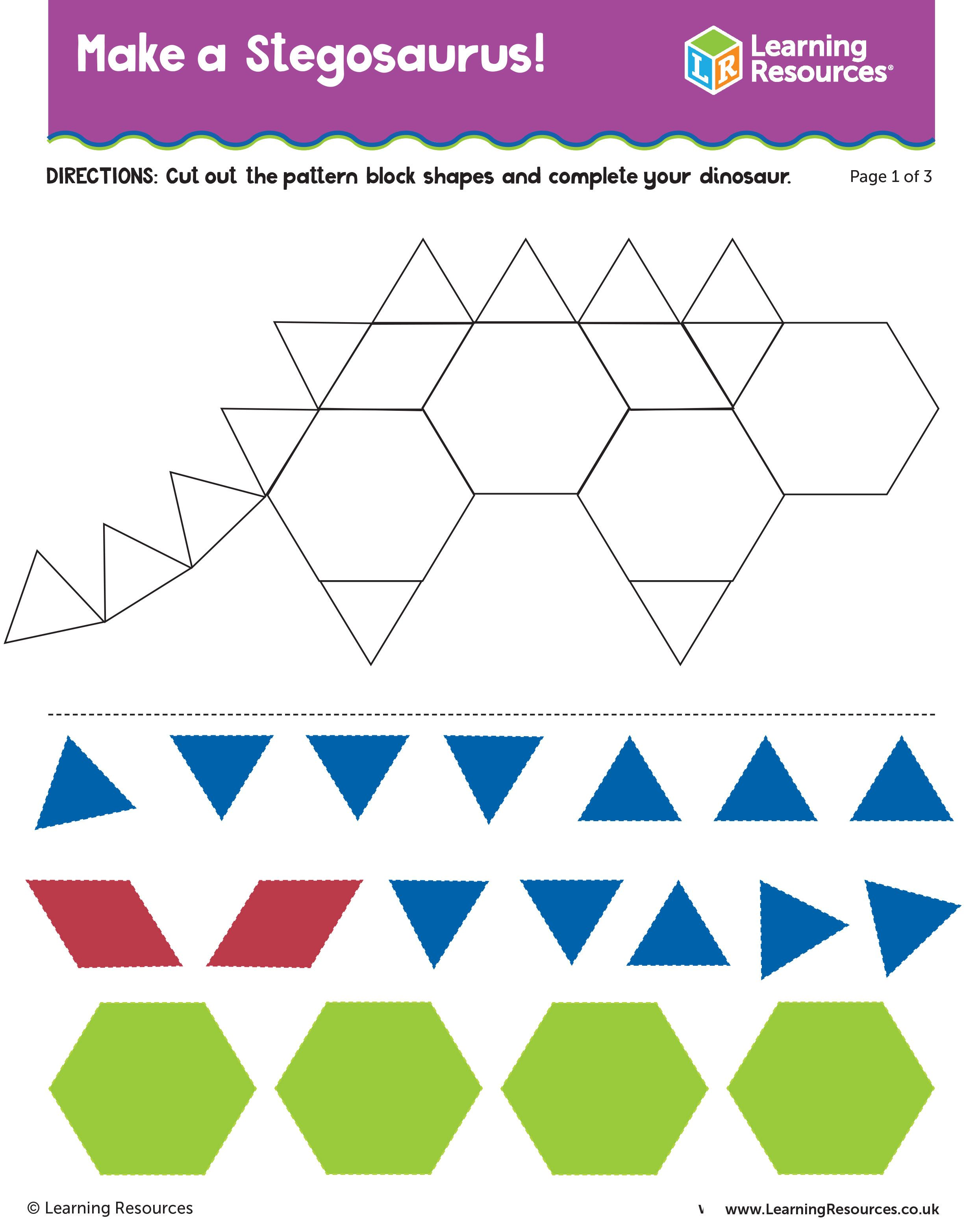 Dino Patterns Pattern Blocks Make a Stegosaurus ActivitySheet