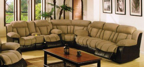 Sectional Recliner Sofa With Cup Holders In Saddle Microfiber
