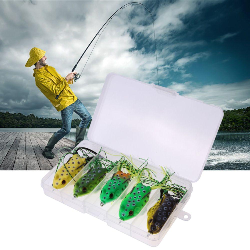 5 개 새로운 스타일의 부드러운 두꺼비 개구리 배스 낚시 미끼 부드러운 플라스틱 중공 낚시 미끼 크랭크 베이트 후크 5.5 센치메터 8 그램 상자 도매