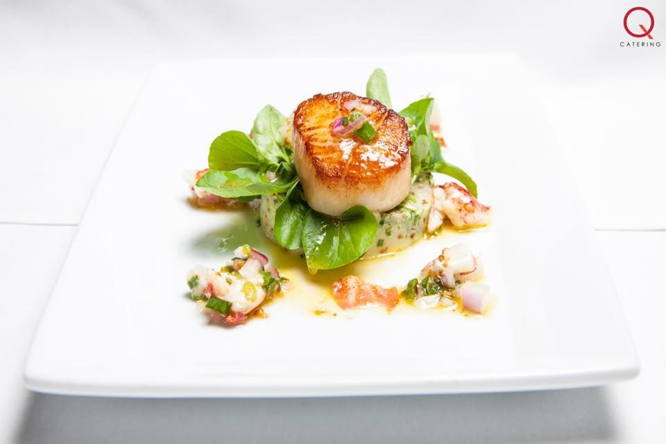 q catering pan seared diver scallop with german potato d salad d in a