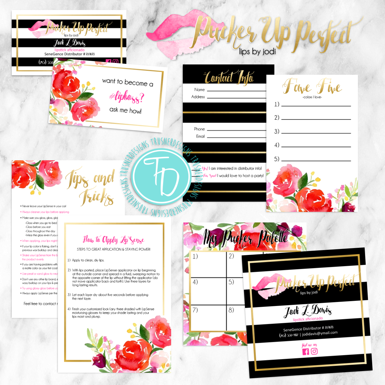 LipSense business cards and branding package by Trusner