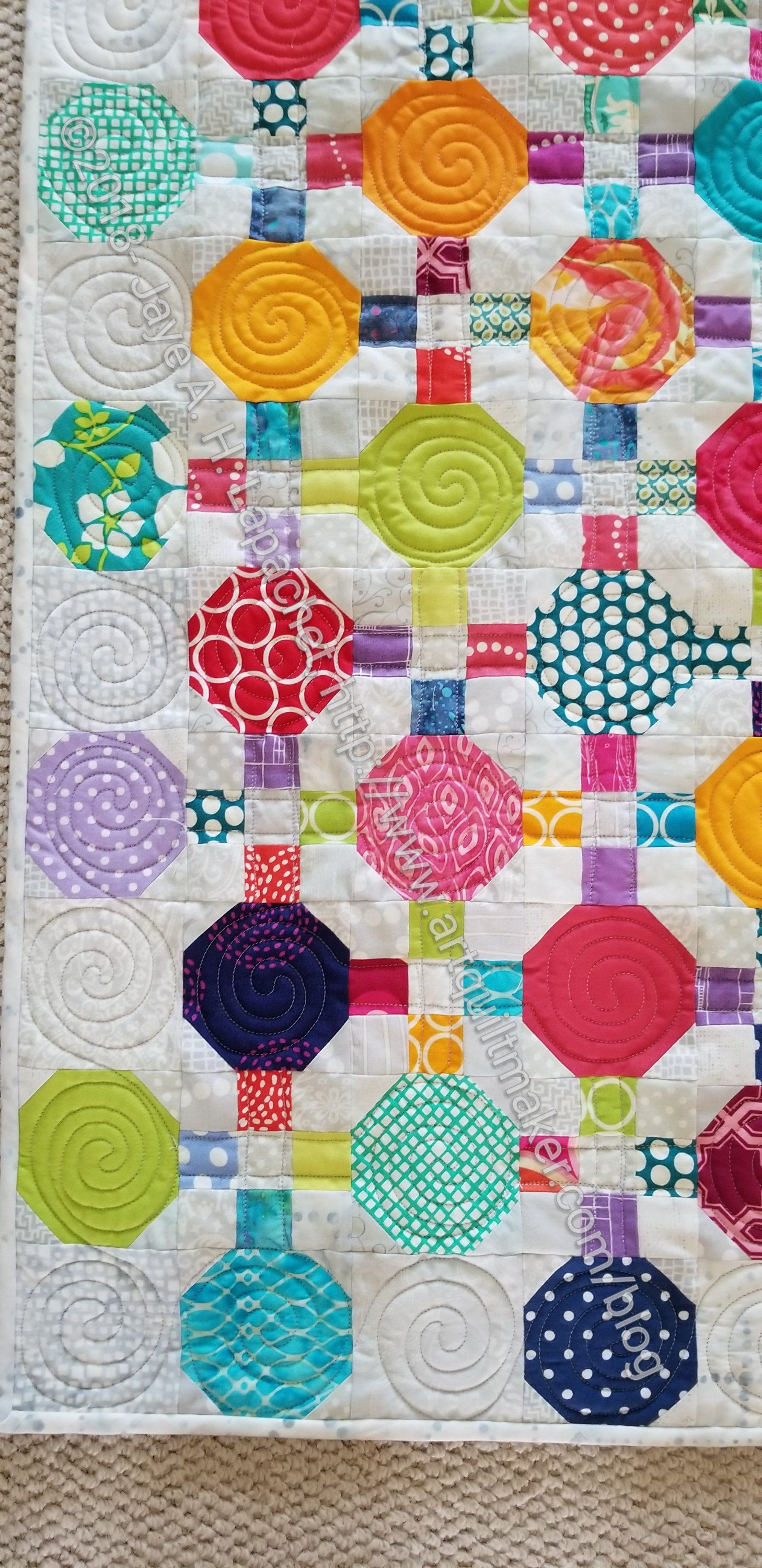 Finished Octagon 9 Patch detail quilts Pinterest