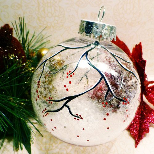 Snowy berry branch clear sparkle ornament hand painted for Clear christmas bulbs for crafting