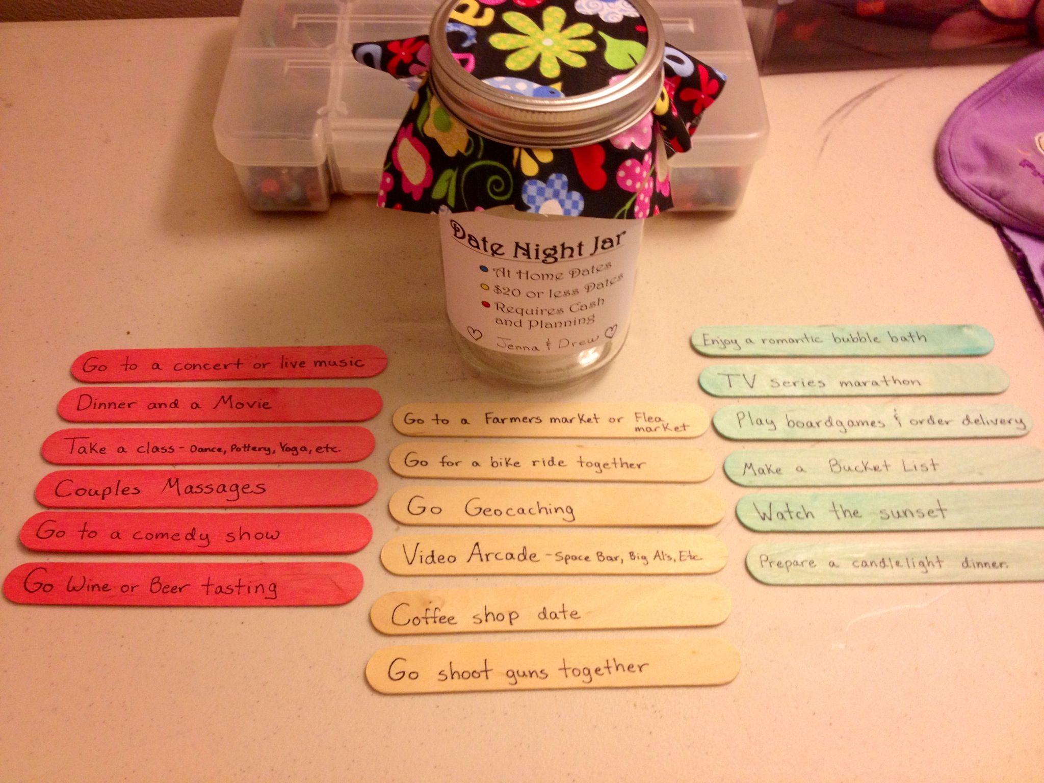 Pin By Jennifer Galli On Date Ideas Date Night Jar Diy Wedding Presents Jar Gifts