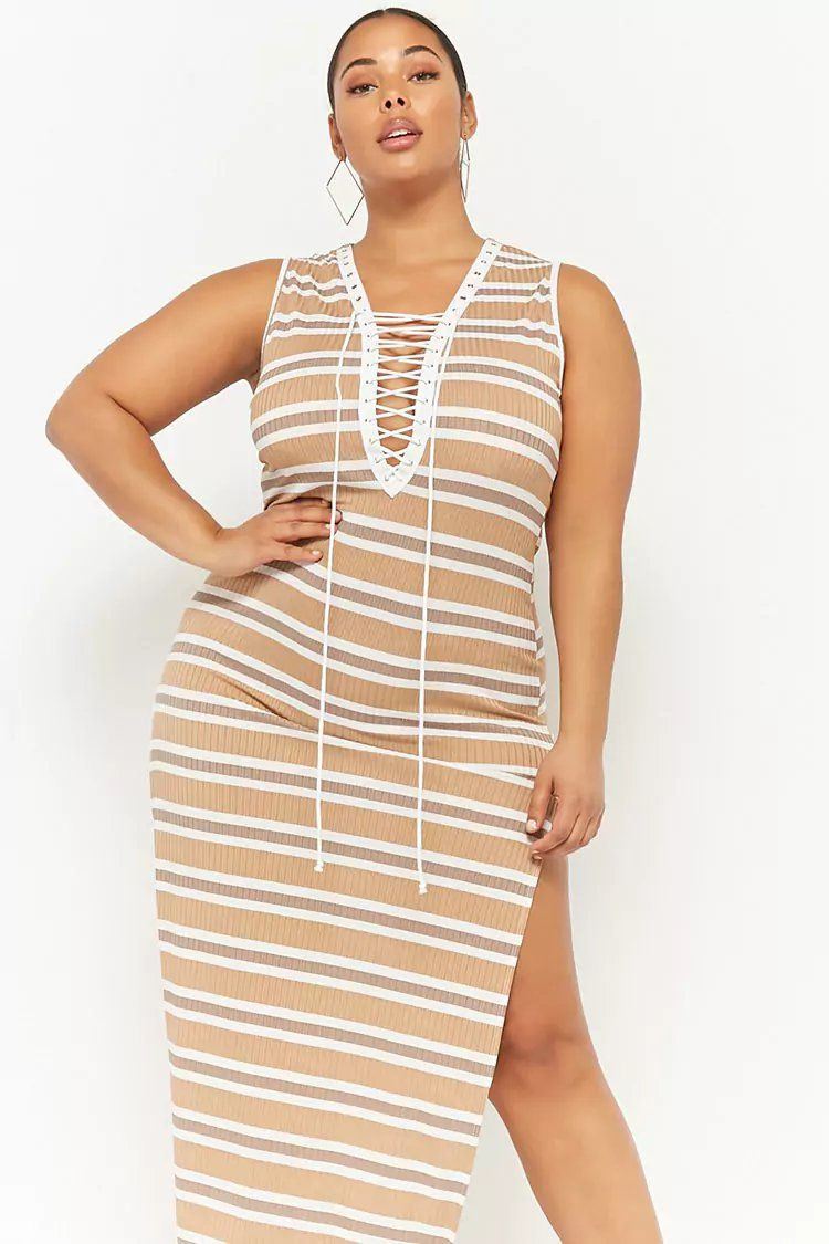 Plus Size Plunging Lace Up Maxi Dress Forever21 forever21
