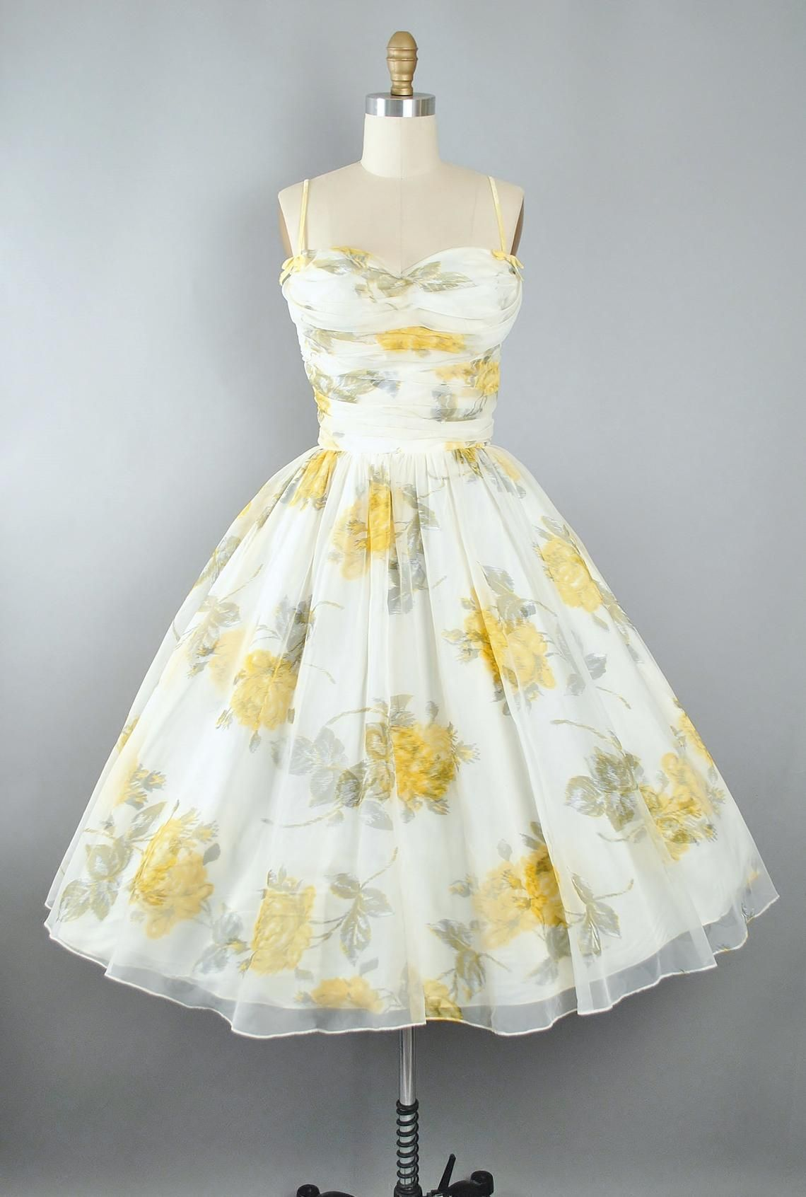Reserved 50s Rose Print Dress 1950s Chiffon Yellow Oversize Floral Roses Sweetheart Bust Overlay Full Circle Skirt Pinup Garden Party Xs 1950s Dress Rose Print Dress Vintage Floral Dress [ 1692 x 1140 Pixel ]