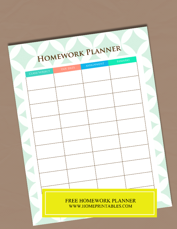 A Free Printable Homework Planner {It\'s pretty!} | FREE Printable ...