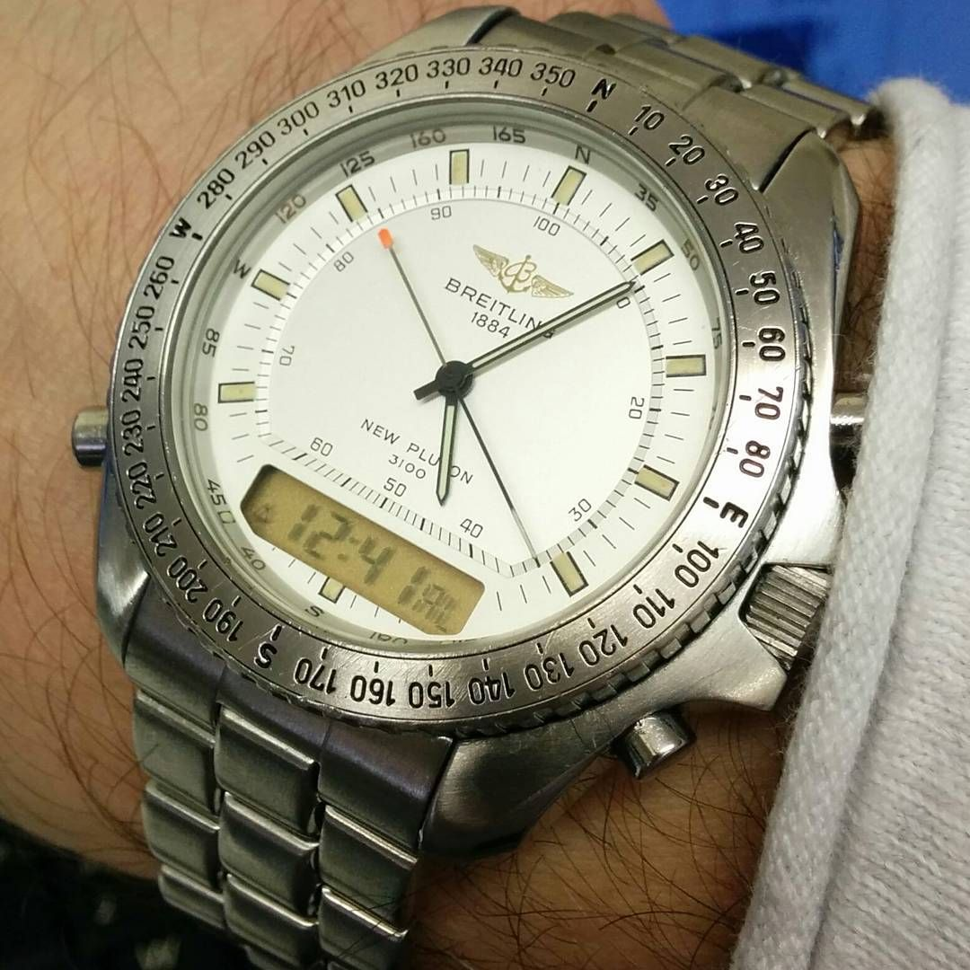 """Breitling new pluton 3100. Not very vintage but possibly 20 years plus. I like the design and it can wake be up in the morning multifunction Japan tech.  #Breitling #breitlingwatch #breitlingnavitimer #breitlingnavitimerworld #pluton #retro #retrowatches  (at """"Antique Watch Co UK"""".)"""