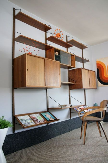 Furniture, Attractive Functional Furniture Wood Mid Century Wall Units  Design Combine With White Wall Wooden Chair And Grey Carpet Completed With  Wall ...