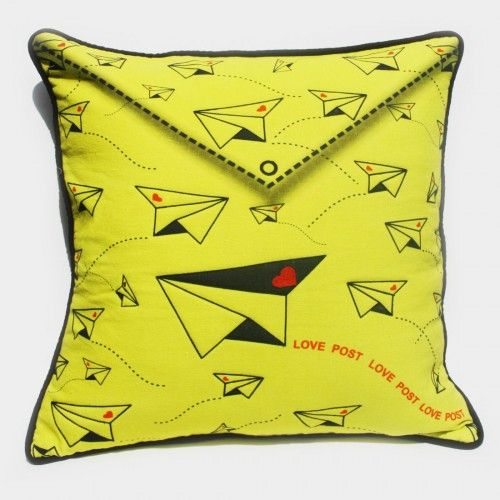 Paper Planes cushion cover http://www.tadpolestore.com/ #paper #planes #cushion cover #yellow #quirky #kids #childhood #colorful #home