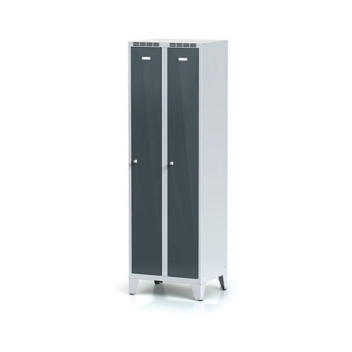 Metal wardrobe on legs, dark gray door, cylindrical …