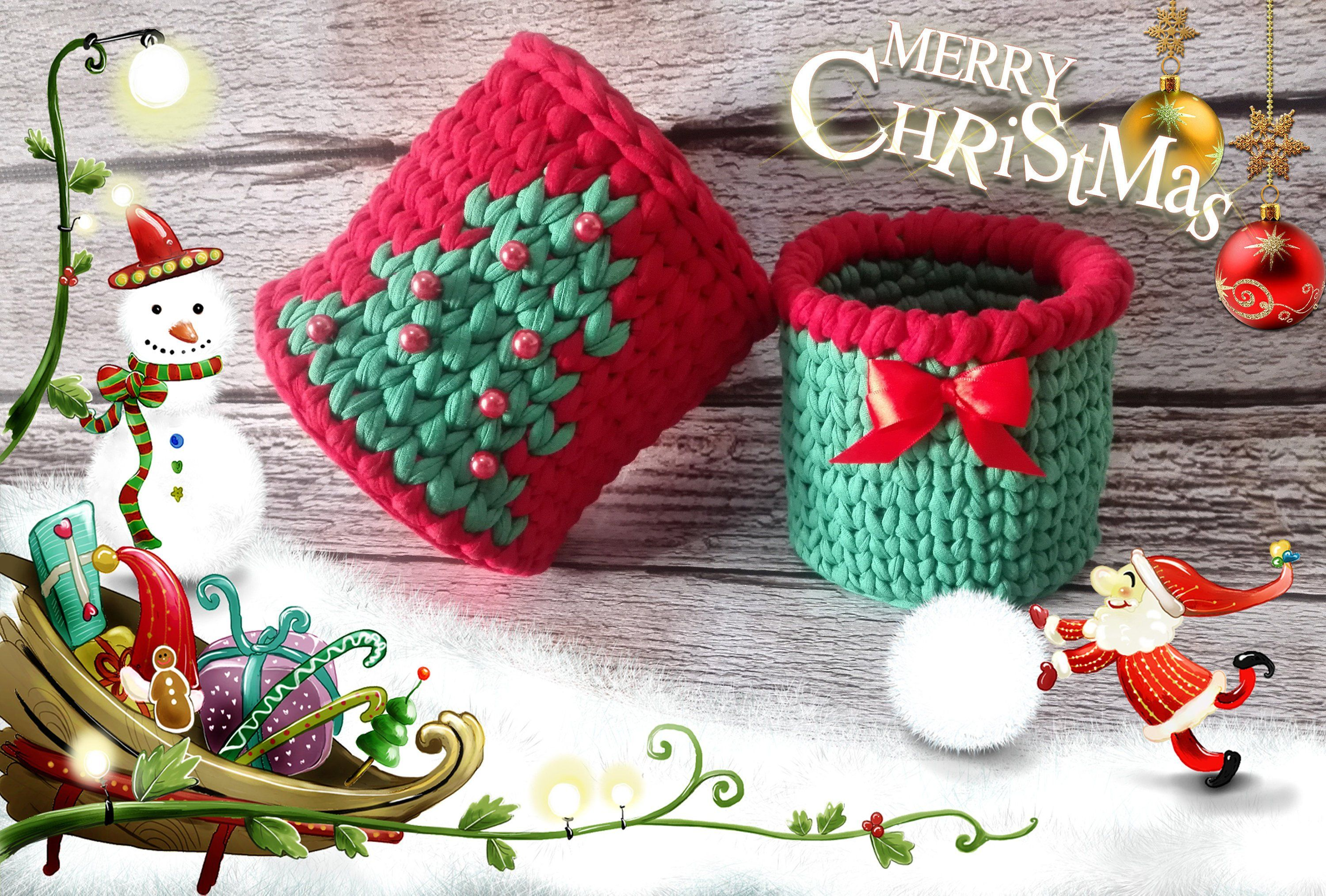 Modern decoration Christmas basket Crochet with tree Mr and Mrs