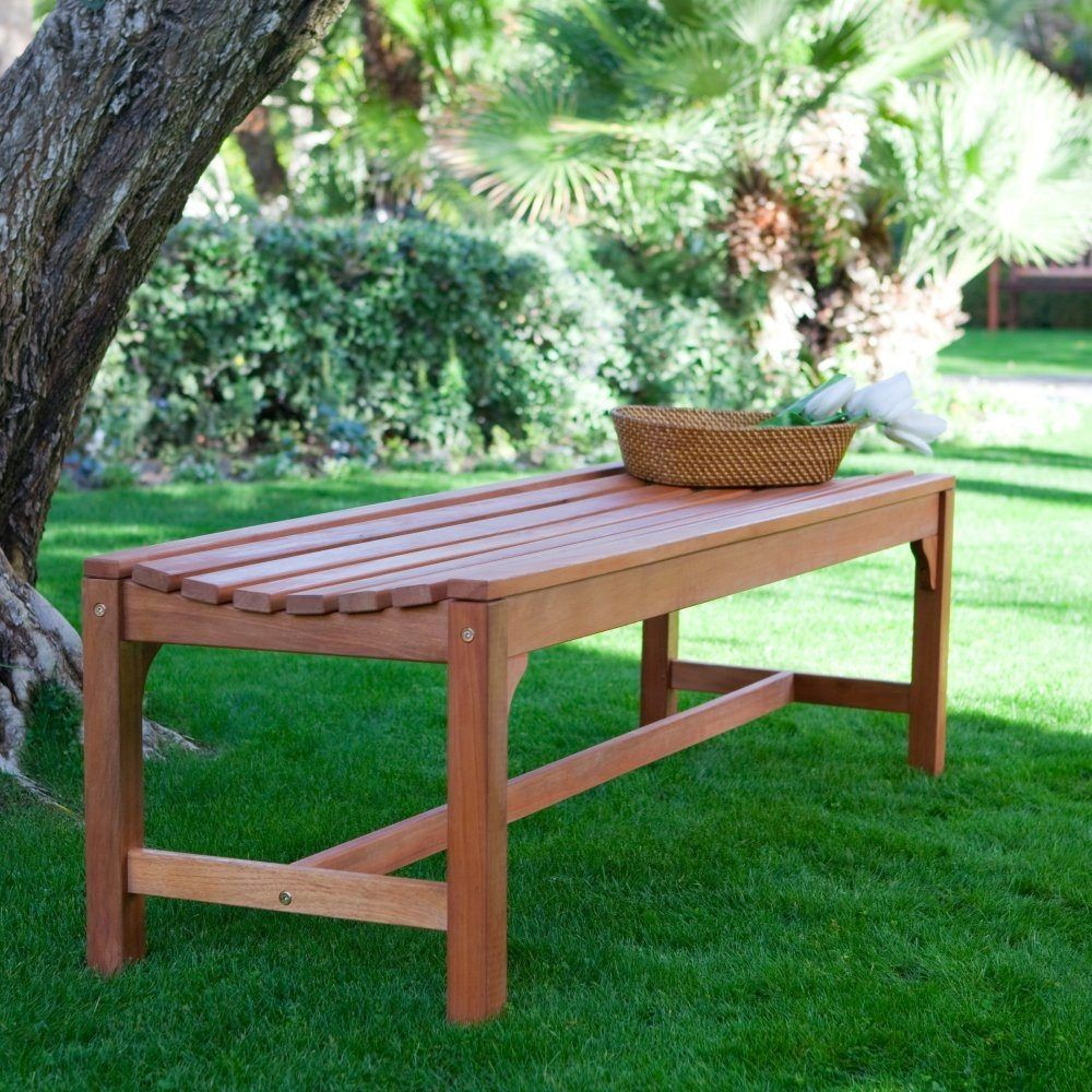 5 ft backless garden bench in weather resistant wood garden paths