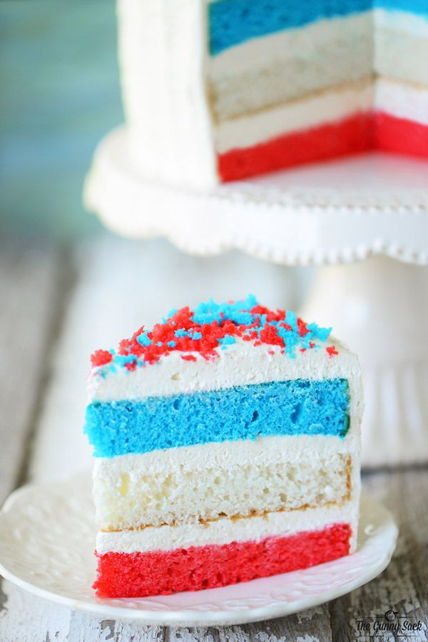 Red White and Blue Fourth of July Cake Recipe