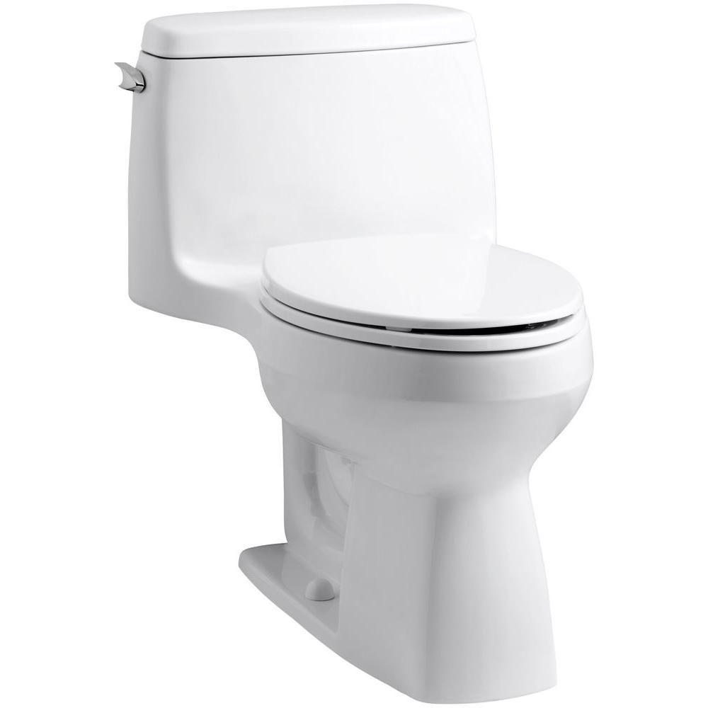 Kohler Santa Rosa Comfort Height 1 Piece 1 6 Gpf Single Flush Compact Elongated Toilet With Aquapiston Flush In White K 3811 0 Modern Toilet Kohler Toilet Toilet Installation