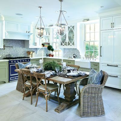 three elegant kitchens in shades of blue and green elegant