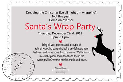 Christmas Wrapping Party Google Search Party Invite Template Birthday Party Invitation Wording Party Invitations