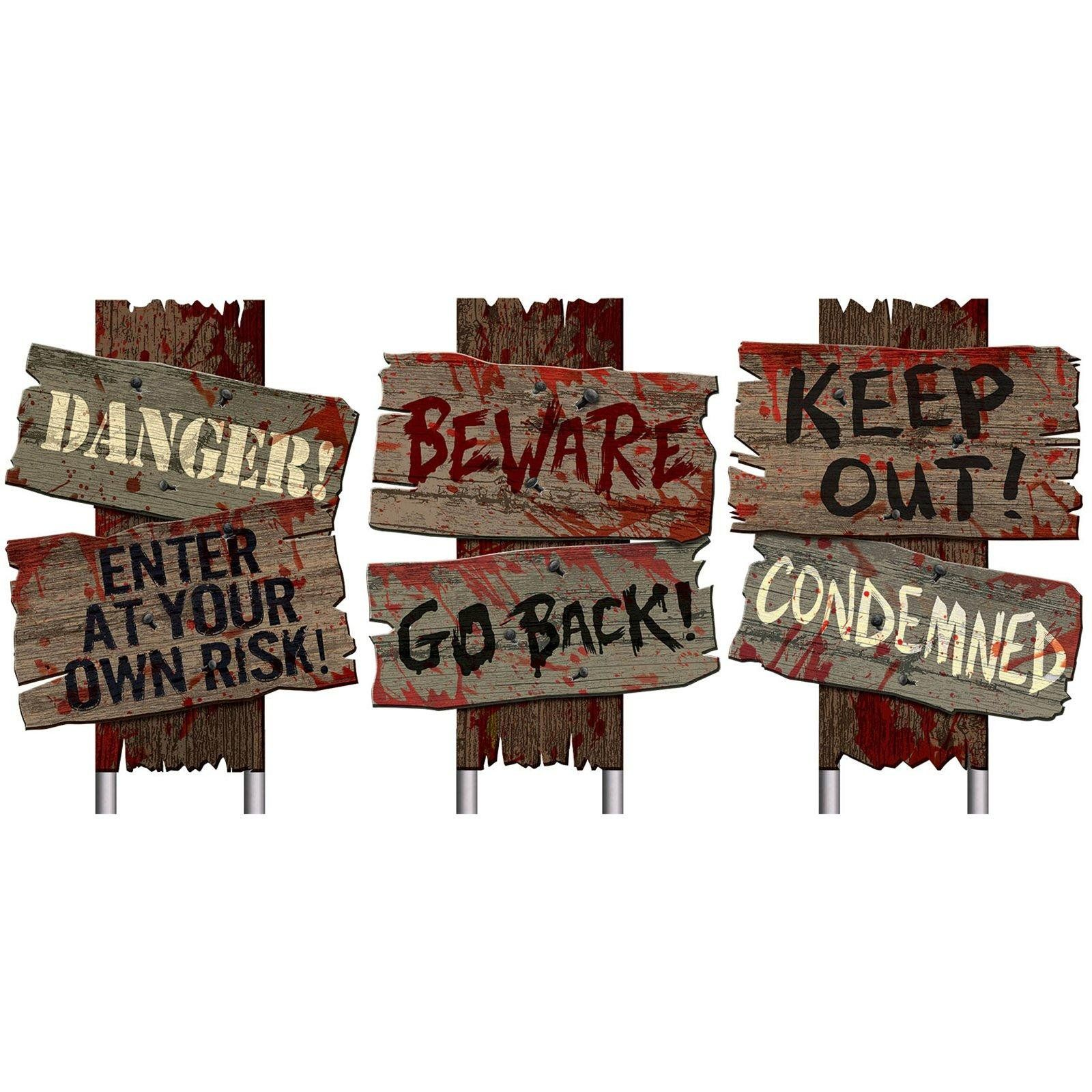 "Set of 3 Halloween Cemetery Sidewalk Signs ""Beware Go Back"" ""Keep"