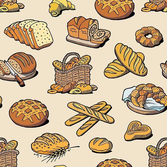 bakery and bread vector baking bread