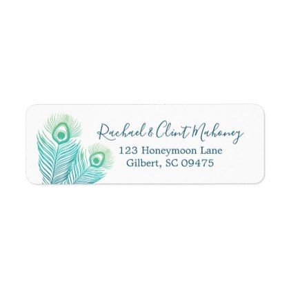 Elegant Gold Peacock Return Address Labels Return address, Gold