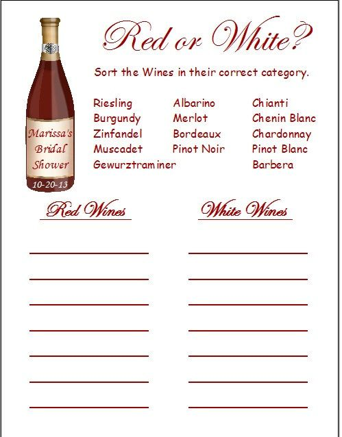 24 red or white wine quiz bridal shower game