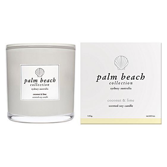 Capture a tropical spirit in your home with the alluring aromas and quality soy-based wax of the Deluxe Candle, Coconut & Lime from Palm Beach Collection.
