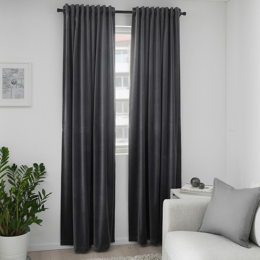 Sanela Room Darkening Curtains 1 Pair Dark Gray 55x98 Ikea Block Out Curtains Thick Curtains Room Darkening Curtains