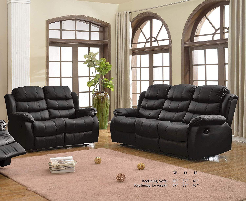 Esofastore Black Plush Comfort Bonded Leather 2pc Sofa Set Cushion Sofa And Loveseat Living Room Furniture Cushions On Sofa Loveseat Living Room Sofa Set #plush #living #room #furniture