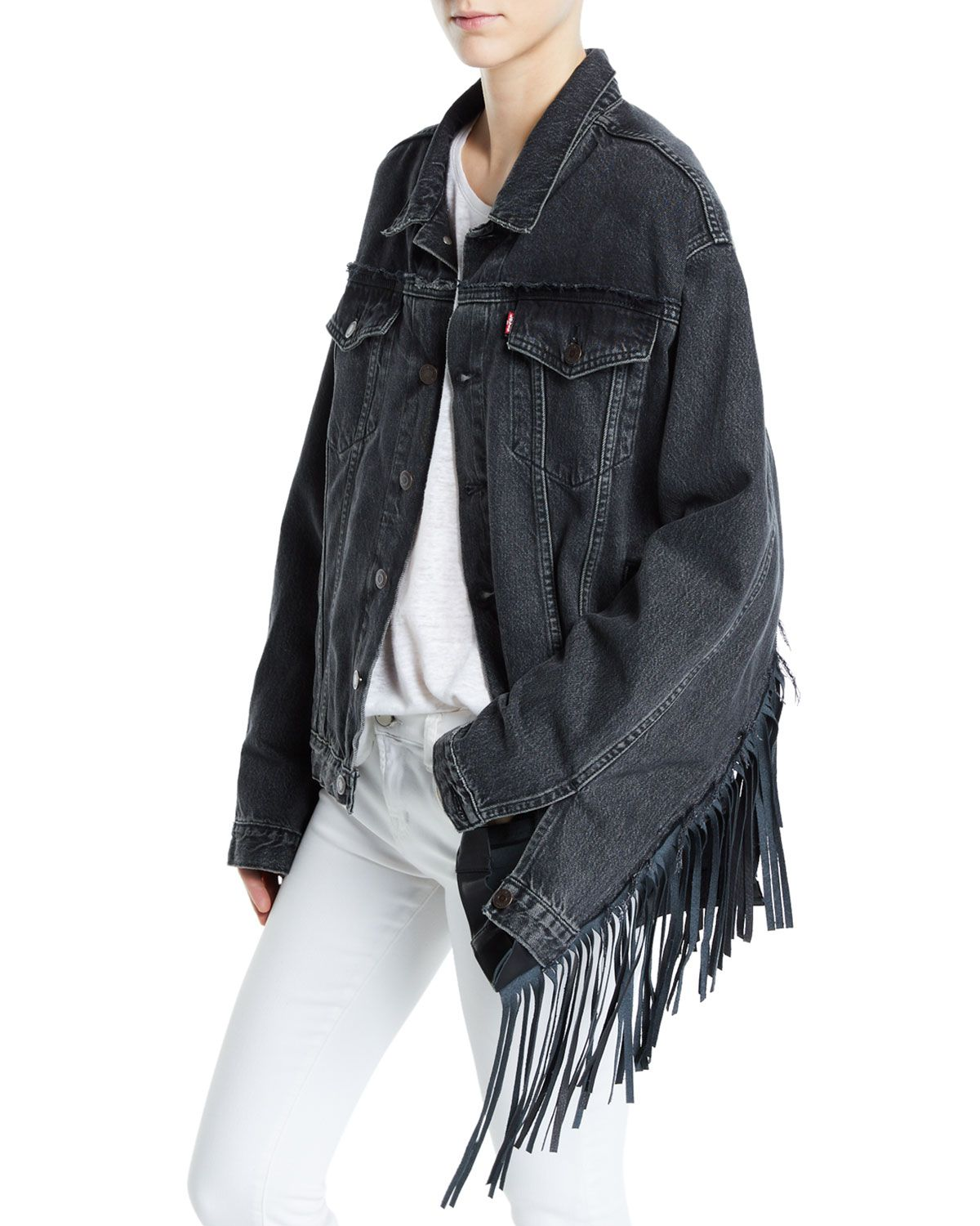 Leather Vetements Denim Trim cloth Jacket Fringe vetements 7wgwxrdq