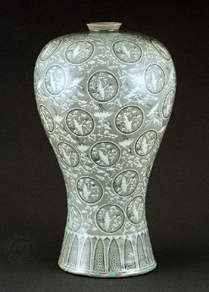 Celadon Vase Inlaid With Cloud And Crane Design C 13th Century In